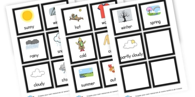 Board Weather Cards - Weather Classroom Signs and Labels Primary Resources,Weather,Signs