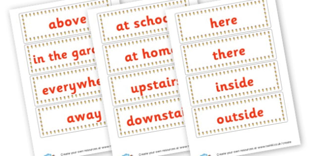 Where Adverbs - Verb Primary Resources, verbs, noun, adjective, wow, keywords