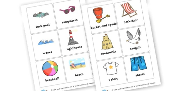 Seaside Vocab Cards - The Seaside Display Primary Resources, beach, sun, sand