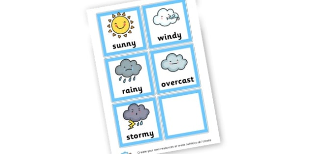 Weather Cards - Weather Display Primary Resources - Australian Resources Weather