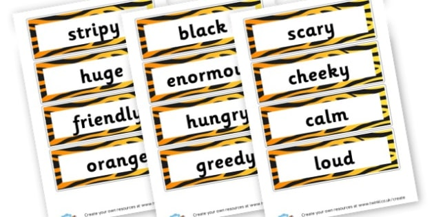 Tiger Adjectives - Primary Resources English, Literacy, Letters and Sounds, phonics