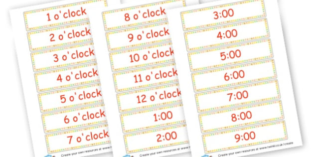 o'clock Time Cards - time, resource, Home School, alphabet, literacy, numeracy, a-z