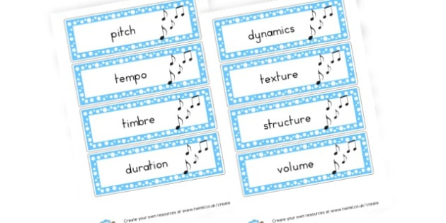 Music Vocab - Music Primary Resources, musical instruments, musical sounds