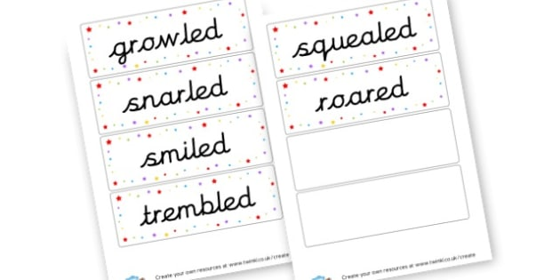 Talking verbs Cards - Verb Primary Resources, verbs, noun, adjective, wow, keywords