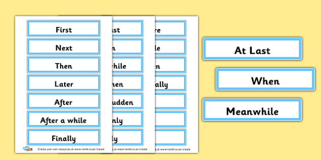 Time Connectives Word Cards - Display Sentence Starters Primary Resources, Display, Letters