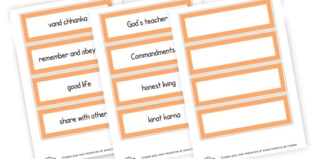Sikhism Vocab Word Cards - KS2 Sikhism Visual Aids Primary Resources, Religion, Sikhism, RE