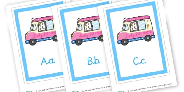 A-Z on Ice Cream Vans - Alphabet Display Primary Resources, English, Literacy, Letters