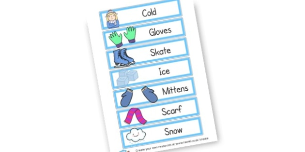 Winter Words Cards - Winter Literacy Primary Resources, winter snow, snowman, education