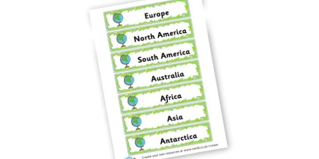 Continent Word Cards - Countries And Continents Primary Resources, city, sights, country