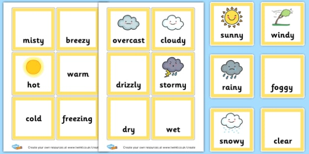 Weather Word Cards - Weather Themed Classroom Signs Primary Resources, classroom