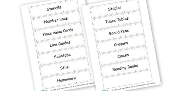 Oak new - display lettering - Resource Labels Primary Resources, resource, label, drawer labels