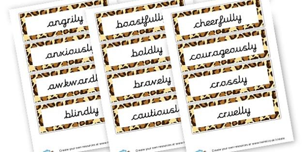 KS2 Averbs -ly Words - KS2 Verbs and Adverbs Primary Resources, Verbs, Adverbs, KS2 Words