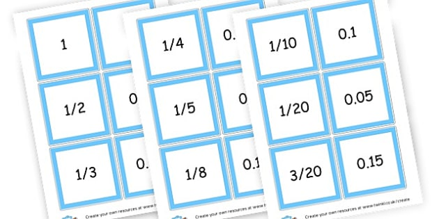 Fractions - Decimals Matching Cards - Fractions Primary Resources, numeracy, fraction, half, quarter