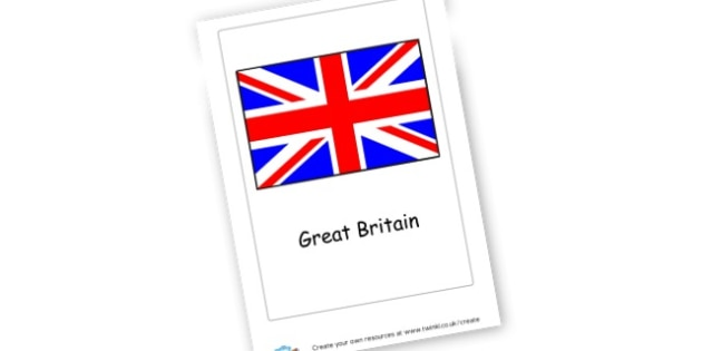 Great Britain Flag Card - Countries Primary Resources, city, sights, country, USA, Australia