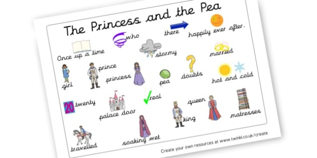 The Princess and the Pea Word Mat - The Princess and the Pea Primary Resources, Hans Christian Andersen
