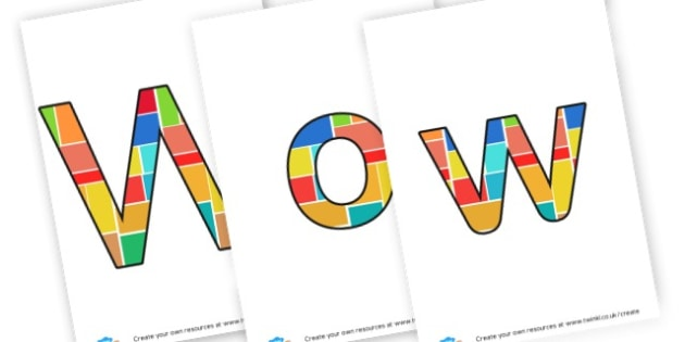 WoW board - Display Lettering - Display Lettering Primary Resources, cut out, letters, display