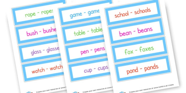 Suffix- Singular and Plural Cards - single and plural,