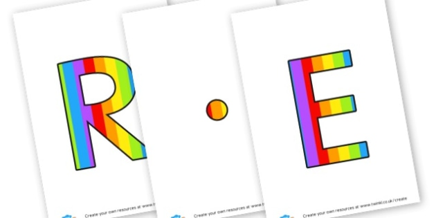 R.E. - display lettering - General, Display, Religion, General,  Primary Resources, faith, R