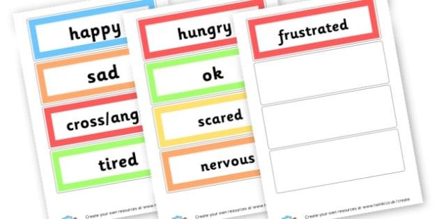 Emotions words - Emotions & Behaviour SEN Primary Resources, Dyslexia , SEN, EAL