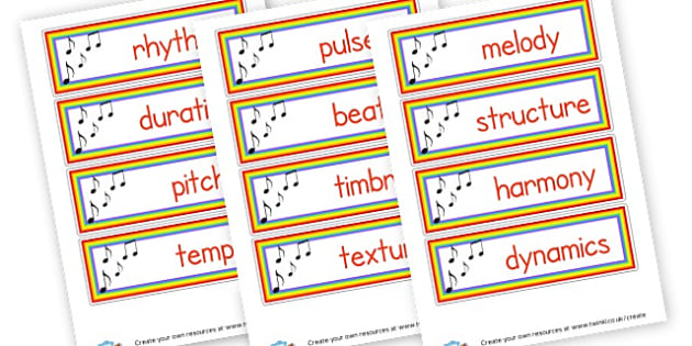 Music Elements Cards - Music Keywords Primary Resources, letters, phonics, sounds, dfes