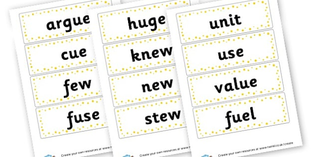 ue Extended Code Word Cards - Words & Vocab Primary Resources, literacy, keywords, cvc, phonemes