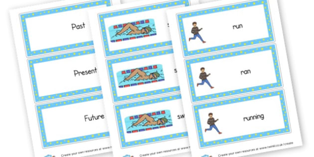 Verbs Tenses Word Cards - Verb Primary Resources, verbs, noun, adjective, wow, keywords