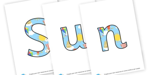 Sun sea sand display lettering - The Seaside Display Primary Resources, beach, sun, sand