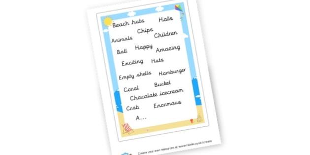 Seaside Word mat - The Seaside Literacy Primary Resources, beach, sun, sand