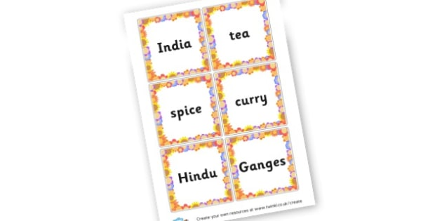 India Themed Word Cards - India Primary Resources, south asia, hindu, sikh, india, indian,
