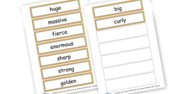 describing words - Adjectives Primary Resources, cll, wow, keywords, describing words