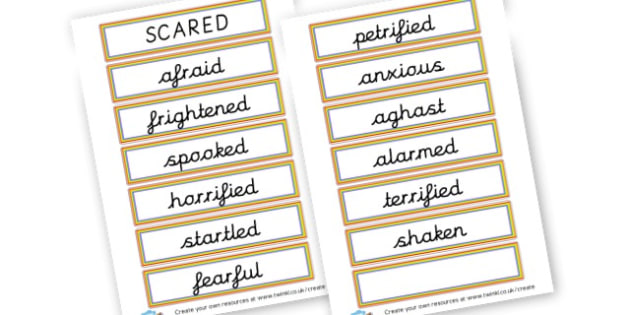 Alternative Words for Scared - Grammar Activity Primary Resources, grammar aids, activities