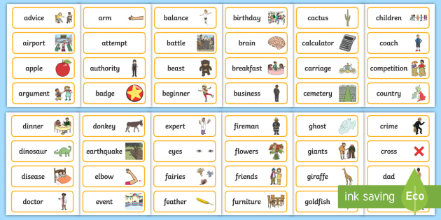 Nouns Word Cards - KS2 Nouns, Words and Vocabulary, Literacy ...