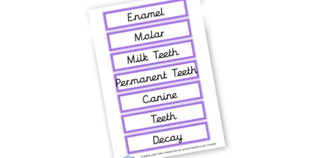 Teeth Word Cards - Teeth Primary Resources, Teeth, Brushing Teeth, Clean Teeth, Food