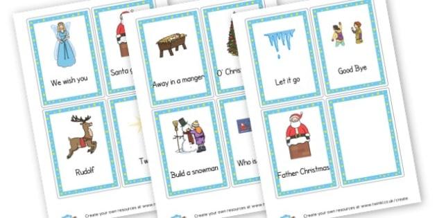 Christmas Cue Cards For Singing - Christmas Carols Primary Resources - Xmas, Songs, Carols