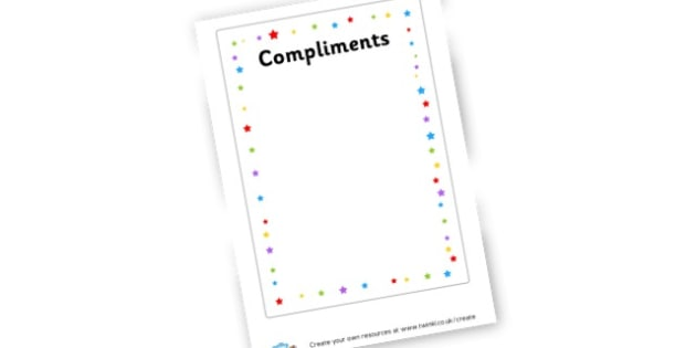 Compliments Sheet - Health and wellbeing Mental, emotional, social and physical wellb