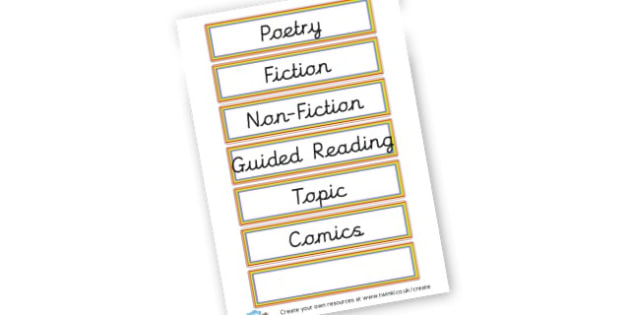 Book Labels - Reading Area Primary Resources, signs, area, zones, banner, poster