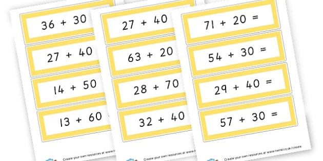 adding multiples of 10 to 2  digit numbers - Addition Primary Resources, add, plus, more, adding, activities