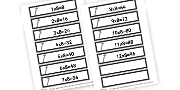 Sword 8 Times Table Cards - Calculations Times Tables Primary Resources - KS2 Calculations Primary, Times, Tabe, Table, times table, times tables