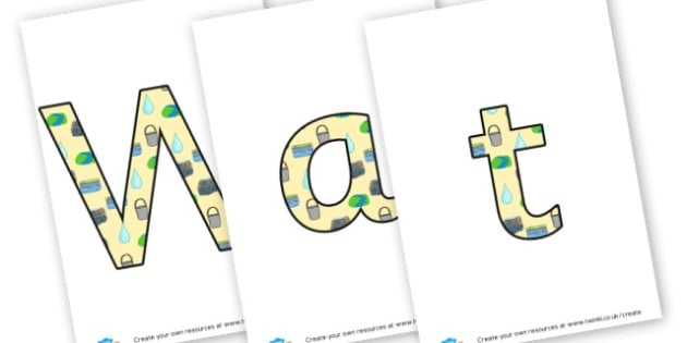 Water - Display Lettering - Water Area Primary Resources, signs, area, zones, banner, poster