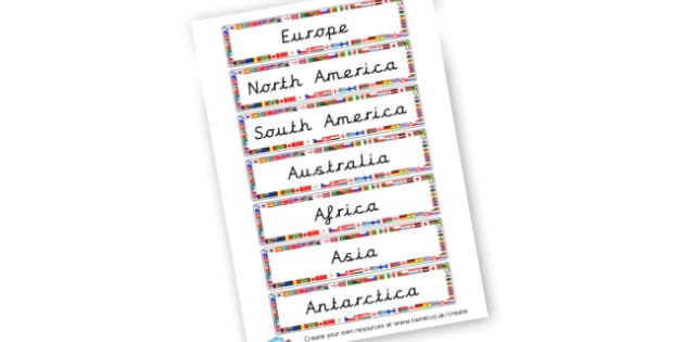 Continent Labels - Geography Keywords Primary Resources, map, city, sights, country