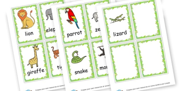 Jungle Animals Word Cards - Jungle and Safari, Themed Signs and Labels, Primary Resources