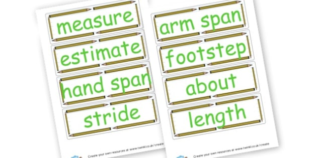 Length Vocabulary Cards - Measuring, Size & Weight Primary Resources, shapes, shape, space