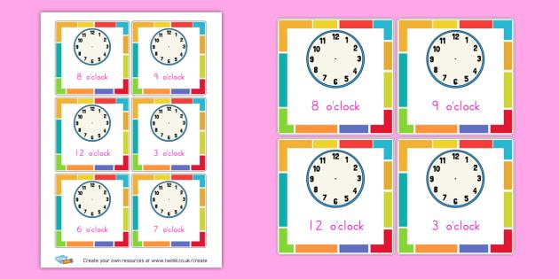 make the o 39 clock time cards ks2 time worksheets primary. Black Bedroom Furniture Sets. Home Design Ideas