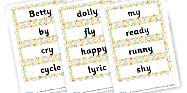 y Extended Code Word Cards - Words & Vocab Primary Resources, literacy, keywords, cvc, phonemes