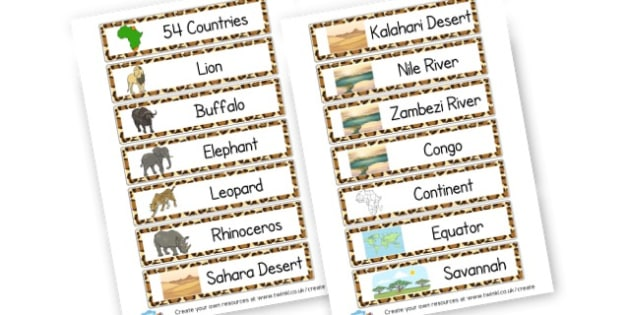 Africa Word List - Africa Literacy Primary Resources, continent, east africa