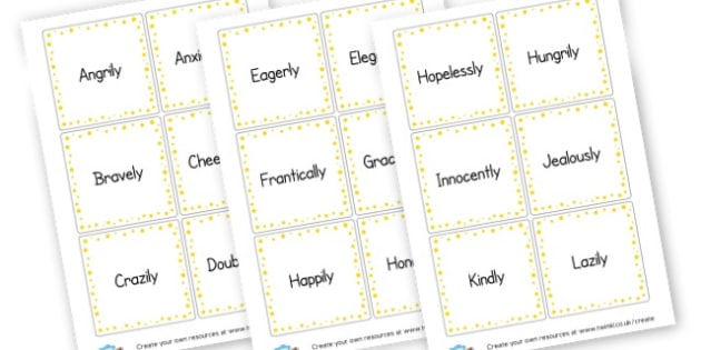 Adverb Cards - KS2 Verbs and Adverbs Primary Resources, Verbs, Adverbs, KS2 Words