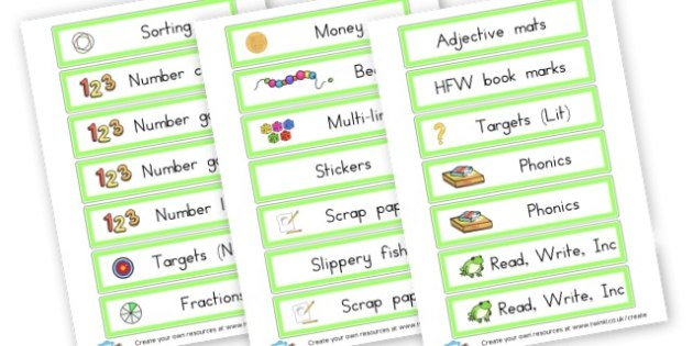 cards for class - Resource Labels Primary Resources, resource, label, drawer labels