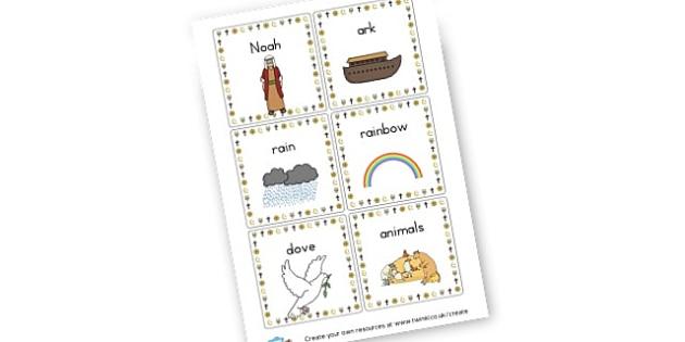 Noah's Ark Flashcards - Noah's Ark Primary Resources, noah, ark, animals, rain, dove