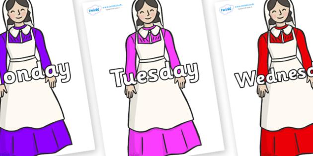 Days of the Week on Florence Nightingale - Days of the Week, Weeks poster, week, display, poster, frieze, Days, Day, Monday, Tuesday, Wednesday, Thursday, Friday, Saturday, Sunday