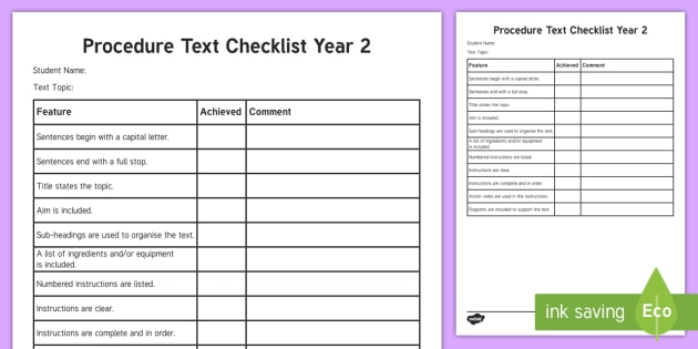 year 2 procedure checklist